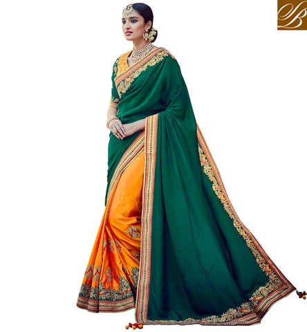 STYLISH BAZAAR ORANGE DESIGNER SILK SAREE ONLINE INDIA HALF SAREES LATEST ONLINE SHOPPING SAREE STORE STYLISH BAZAAR VDNIV20242