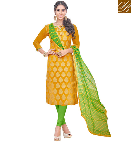 STYLISH BAZAAR BEAUTIFUL MUSTARD BANARASI JACQUARD CASUAL WEAR STRAIGHT CUT SUIT VDPRC19972