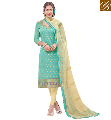 STYLISH BAZAAR SEA GREEN BANARASI JACQUARD STRAIGHT CUT WELL DESIGNED PAKISTANI SUIT VDPRC19977