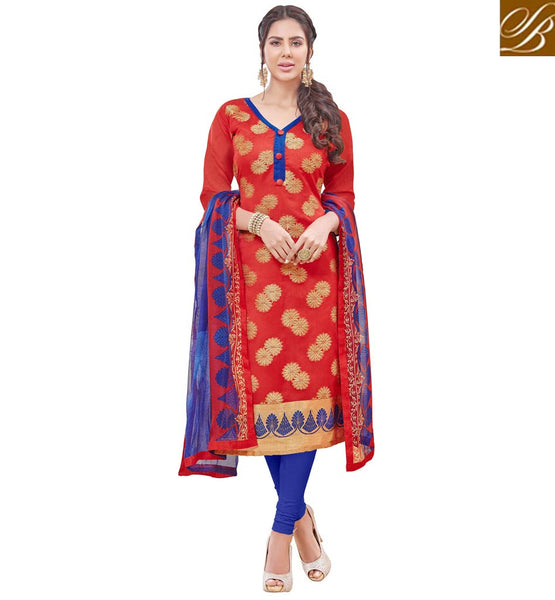 STYLISH BAZAAR RED COLOUR BANARASI JACQUARD CASUAL WEAR DRESS HAVING BLUE DUPATTA VDPRC19979
