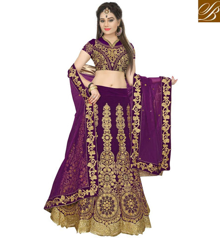 STYLISH BAZAAR WONDERFUL PURPLE COLOR VELVET HEAVY EMBROIDERED BRIDAL WEAR LEHENGA CHOLI VDRGT20018