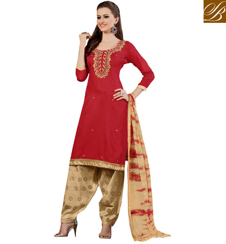 STYLISH BAZAAR Buy red & beige casual wear salwaar kameez suit online in US. UK Canada VDSAB22507