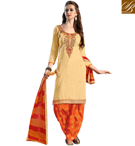 STYLISH BAZAAR Shop beige & orange casual wear salwaar suit online latest 2017 designs VDSAB22508