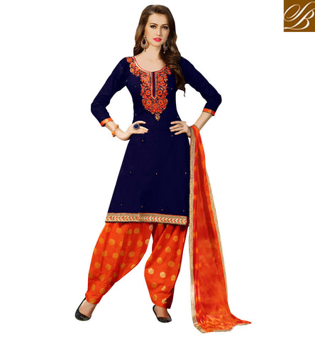 Shop casual wear Navy Blue kameez  with Orange baggy salwaar latest designs VDSAB22510