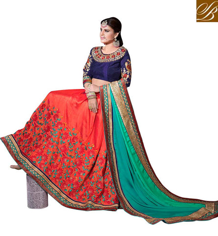 STYLISH BAZAAR BEAUTIFUL ORANGE AND GREEN COLOR WELL EMBROIDERED SAREE VDSGT20110