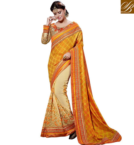STYLISH BAZAAR CREAM AND MUSTARD COLOUR SILK GEORGETTE HALF & HALF PARTY WEAR SAREE VDSGT20115