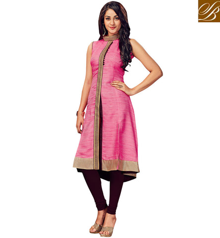 STYLISH BAZAAR BUY LATEST BAND-GALA PINK KURTI DESIGN FOR WOMEN IN INDIA LATEST BOUTIQUE KURTI DESIGNS VDSHN21093