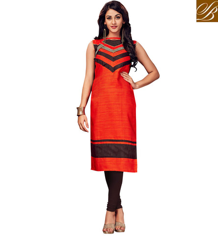 STYLISH BAZAAR BUY DARK ORANGE KURTI SUMMER WEAR LATEST CASUAL WEAR COLLECTION FOR WOMEN IN ONLINE SHOPPING VDSHN21095
