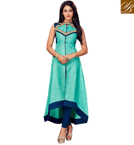 STYLISH BAZAAR SKY BLUE LATEST DESIGN CASUAL WEAR LADIES KURTI FOR COLLEGE AND OFFICE IN ONLINE SHOPPING VDSHN21096