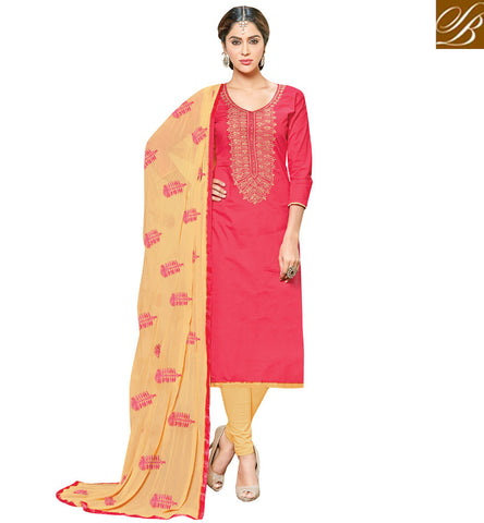 Shop Peach casual wear kameez with beige salwaar latest cotton suits VDSHY22403