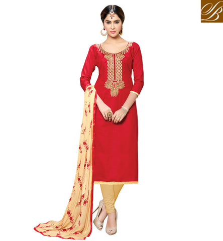 Buy red scoop neckline cotton casual wear ethnic kameez & beige salwar VDSHY22408