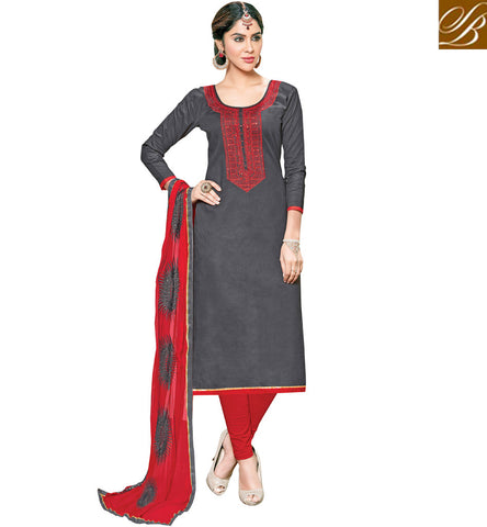 STYLISH BAZAAR Shop grey & red combination cotton casual wear ethnic salwaar kameez VDSHY22409