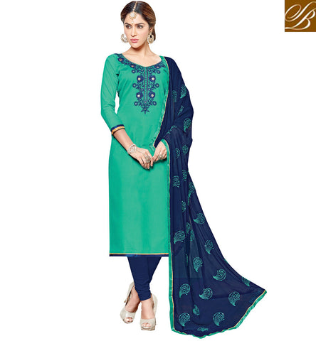 Buy green & peacock blue combination cotton casual wear salwaar kameez VDSHY22410
