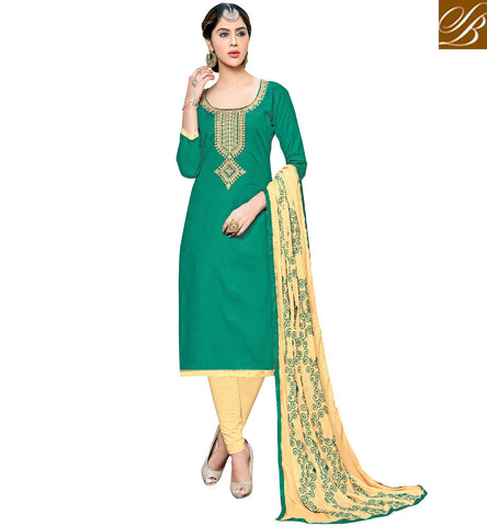 Buy scoop neck green kameez with beige cotton casual wear salwaar suit VDSHY22411