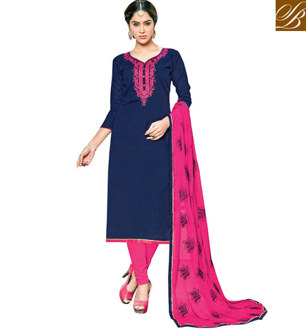 Buy navy blue designer cotton kameez & baby pink cambric cotton salwar VDSHY22413