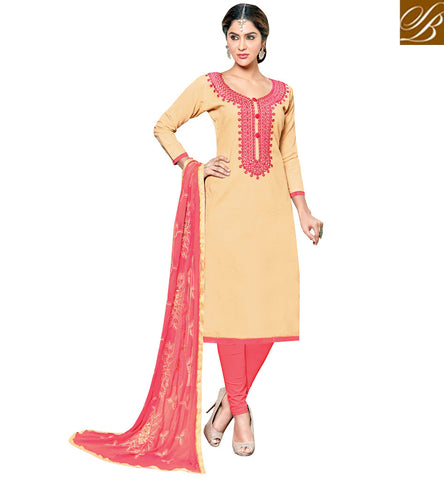 Shop beige cotton Viva & Diva designer cotton kameez & peach salwaar VDSHY22414