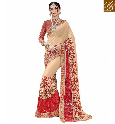 Cream & red latest saree with red blouse for India, US & UK lady VDSJV23383