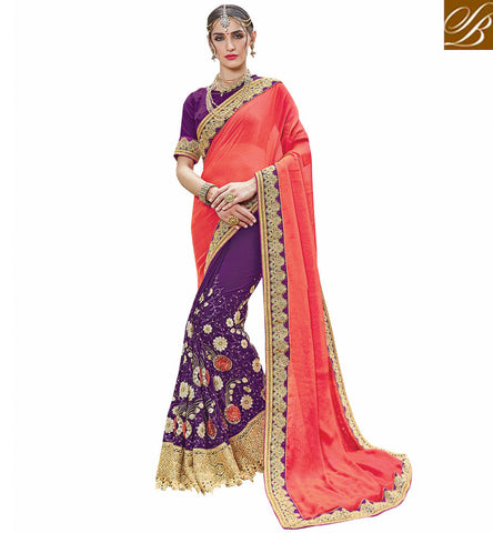 STYLISH BAZAAR Peach & Purple amazing  georgette half sari with purple gota blouse VDSJV23384