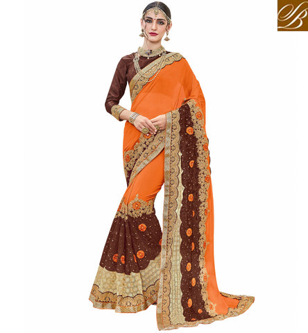 STYLISH BAZAAR Buy orange & brown latest crepe half saree with brown gota blouse VDSJV23385