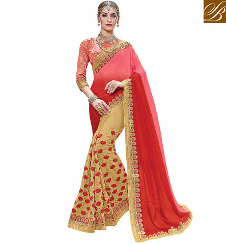Shop red & beige party wear georgette half sari online India VDSJV23386