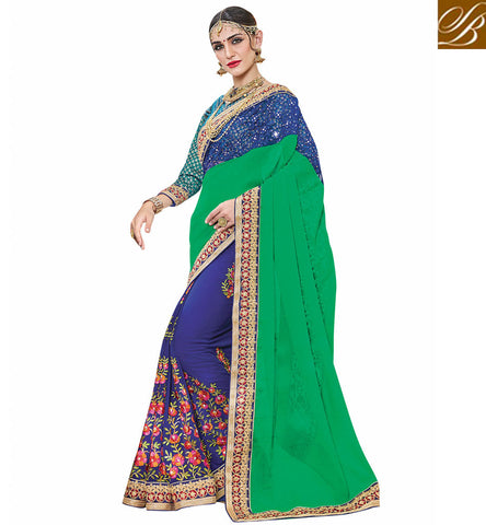 STYLISH BAZAAR Buy blue & green georgette half n half crepe saree & gota blouse VDSJV23387