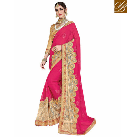 STYLISH BAZAAR Baby pink & beige crepe & net wedding sari with leopard print blouse VDSJV23388