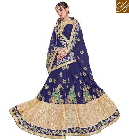 STYLISH BAZAAR Blue & cream georgete wedding sari with bangalori satin blouse VDSJV23389