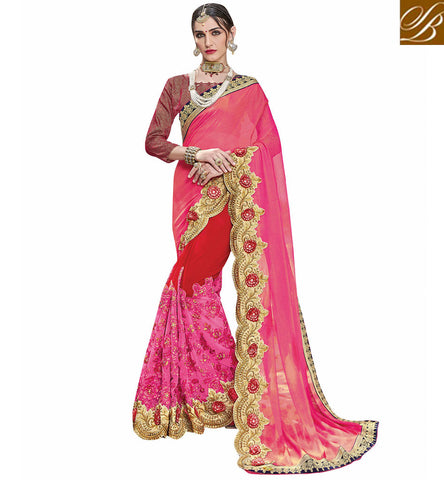 STYLISH BAZAAR Baby pink & red georgette sari with designer maroon blouse VDSJV23390