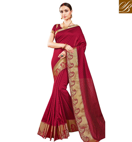 Buy red designer gold heavy border single color saree for women online VDSME22447