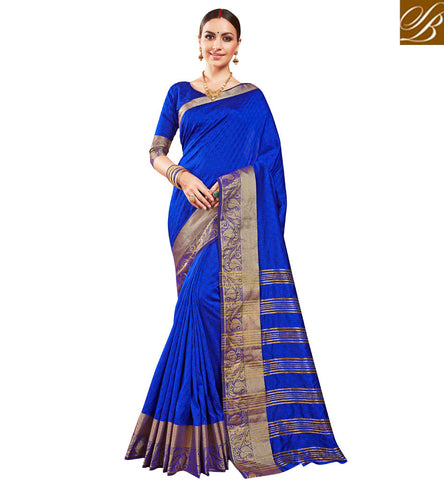 Buy dark blue single color heavy border silk sari with matching blouse VDSME22449