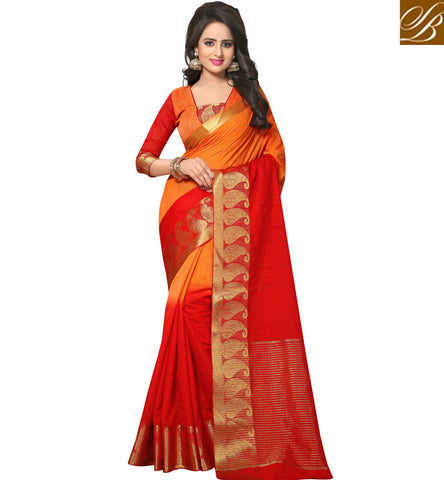 STYLISH BAZAAR Bright orange and red cotton saree with blouse veeha design for women VDVEH21420