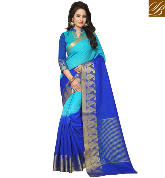 STYLISH BAZAAR Shop new blue half cotton jute sari with collar neck blouse for women VDVEH21422