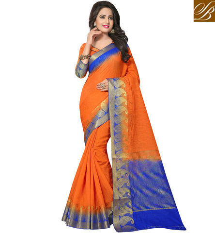 STYLISH BAZAAR Latest orange designer Summer wear cotton jute sari for females online VDVEH21425