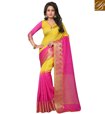 STYLISH BAZAAR Yellow and pink half sari for women cotton jute summer collection sarees VDVEH21426