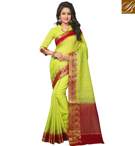 STYLISH BAZAAR Green summer sari with designer collar neck blouse latest wedding sarees VDVEH21427