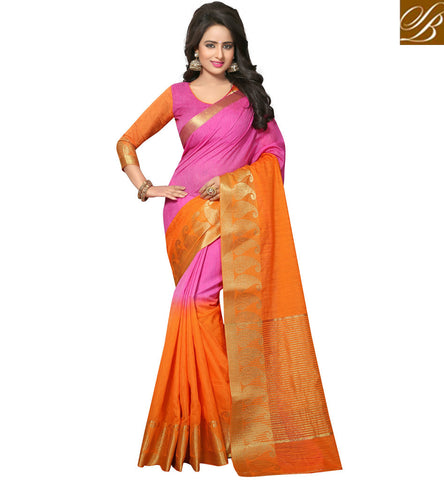 STYLISH BAZAAR Baby Pink summer sari with designer v neck blouse latest wedding saris VDVEH21428