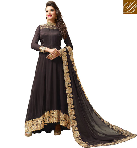 STYLISH BAZAAR BUY BROWN PARTY WEAR DESIGNER DRESS FOR GIRLS & WOMEN IN ONLINE SHOPPING VDVSH21311
