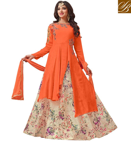 STYLISH BAZAAR WOMEN LONG DESIGNER PEACH SLIT CUT KAMEEZ GHAGHRA IN ONLINE SHOPPING INDIA VDVSH21312