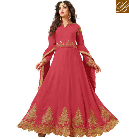 STYLISH BAZAAR SHOP GIRL SOLID PINK V NECK HIGH COLLAR ANARKALI PARTY FESTIVE SHIFT DRESS VDVSH21313