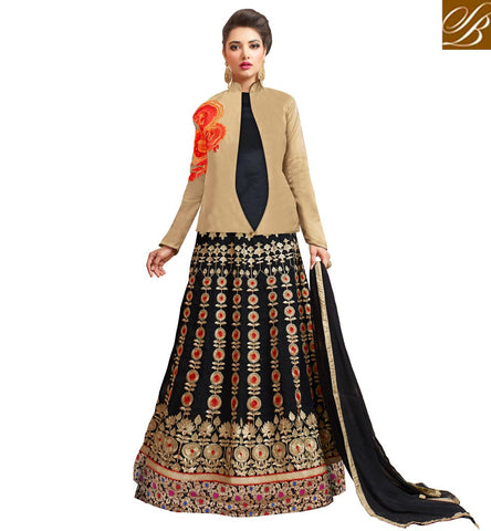 STYLISH BAZAAR INDIAN BLACK LONG GOWN WITH BEIGE JACKET FOR WOMEN LATEST PARTY WEAR DESIGNS ONLINE SHOPPING VDVSH21314