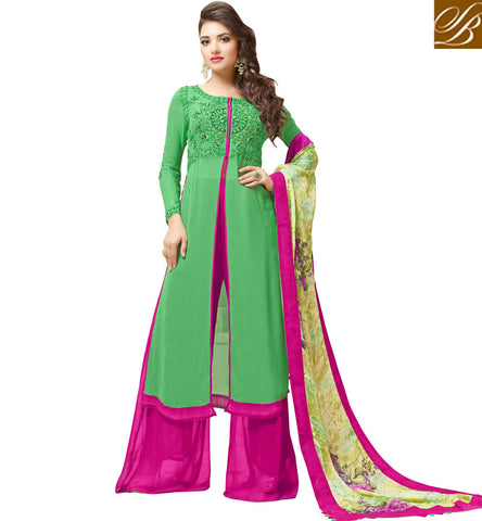 STYLISH BAZAAR BUY GREEN AND PINK MID SLIT DESIGNER SALWAAR KAMEEZ FOR GIRLS IN INDIA VDVSH21316