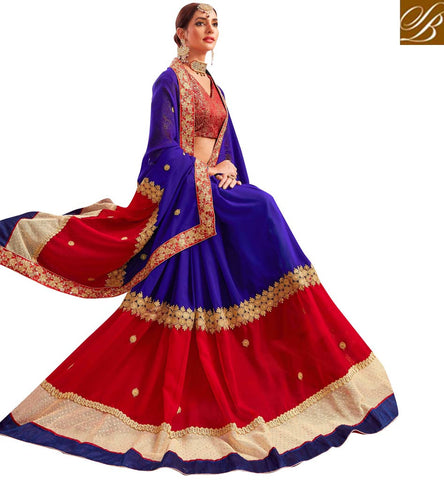 STYLISH BAZAAR Royal blue designer saree with red blouse latest yesina saris online VDYSN22239