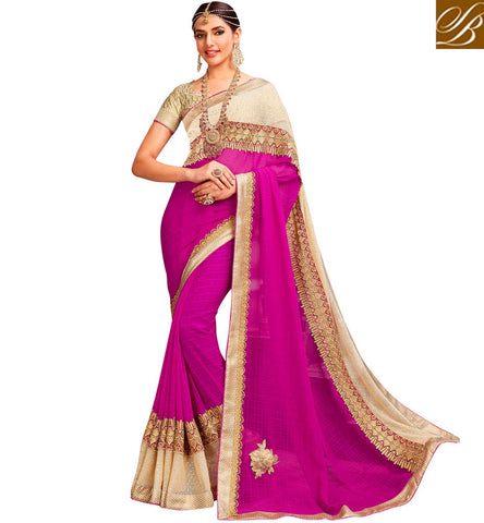 STYLISH BAZAAR Shop Pink & beige half saree along with beige unique cut blouse in UK VDYSN22241
