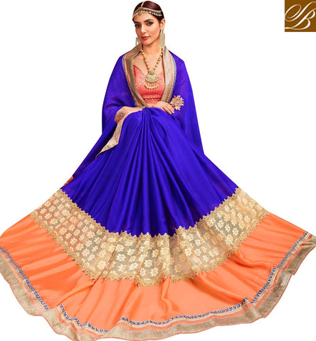STYLISH BAZAAR Buy saffron & navy blue half saree online with with deep neck red blouse VDYSN22242