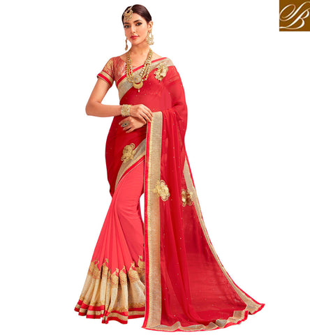 STYLISH BAZAAR Buy baby pink & red wedding saree with boat neck pink blouse online VDYSN22243