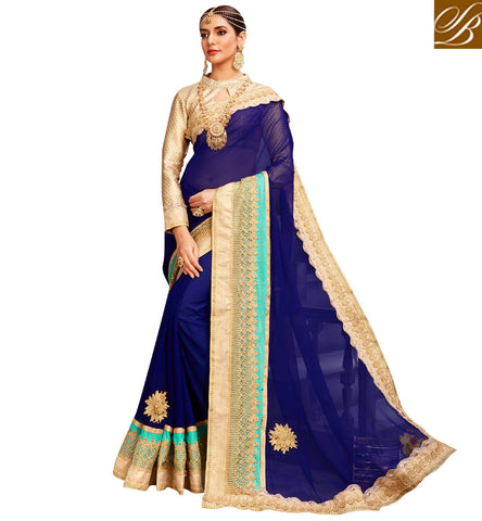 STYLISH BAZAAR Navy blue designer sari with beige key hole collar neck brocade blouse VDYSN22244