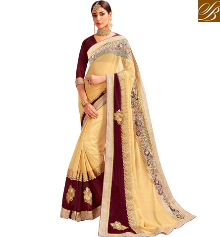 STYLISH BAZAAR Buy Beige designer georgette saree with brown v neck blouse for wedding VDYSN22245