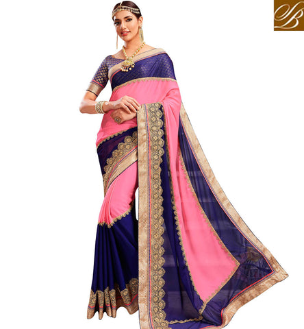 Shop baby pInk & blue Chiffon bridal sari with blue heavy brocade blouse VDYSN22246