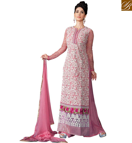 STYLISH BAZAAR INDO WESTERN PINK HEAVILY EMBROIDERED STRAIGHT CUT DESIGNER WEAR VDSER1
