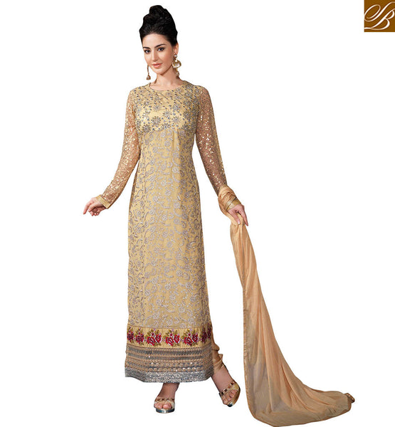 STYLISH BAZAAR INTRODUCES UNIQUE BEIGE DESIGNER KARACHI STYLE SUIT DESIGN VDSER5